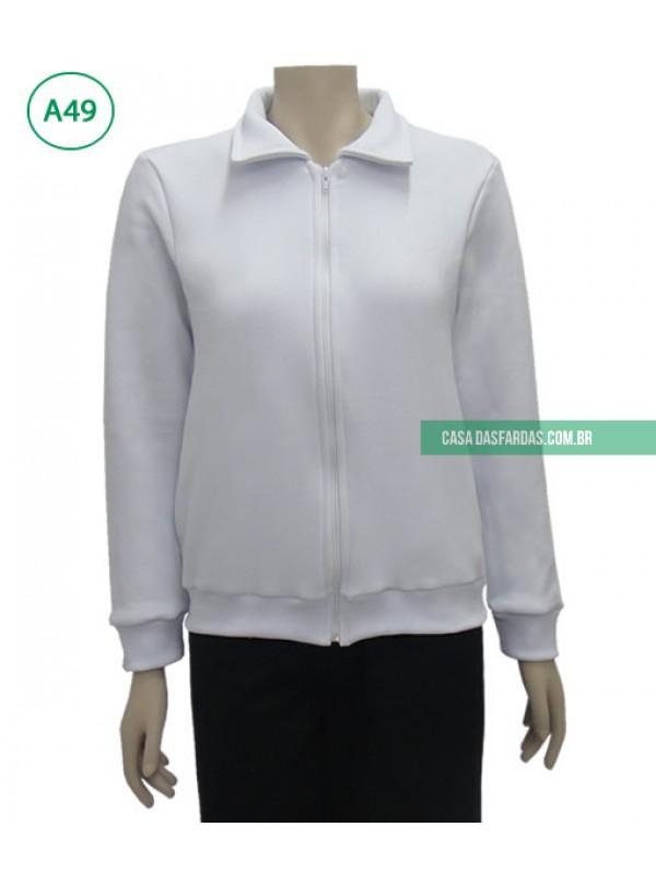 Jaqueta com ziper moleton branco
