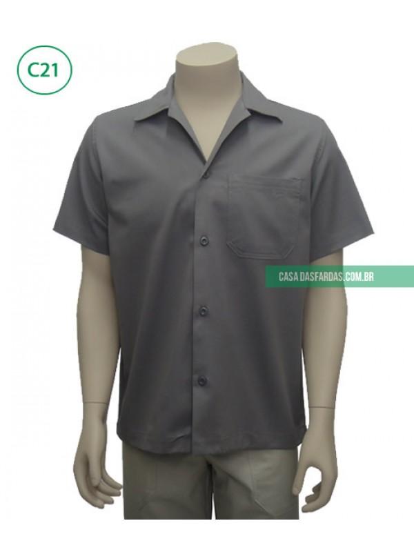 Camisa brim aberta com botão