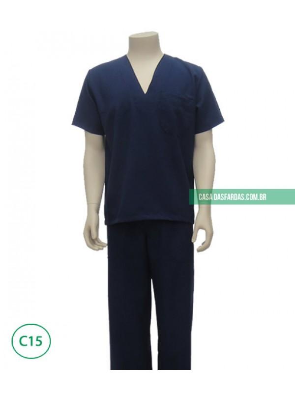 Conjunto calça/camisa oxford gola v